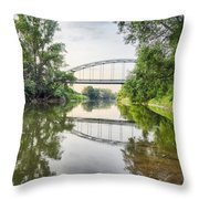 River Saale Bridge Near Dehlitz Throw Pillow