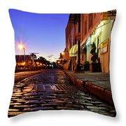 River Street At Dusk Throw Pillow