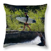 River Surfers Snake River Throw Pillow