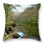 River Teign - P4a16010 Throw Pillow