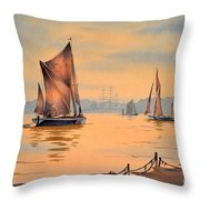 River Thames At Greenwich London Throw Pillow