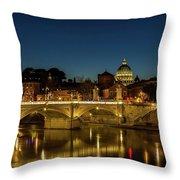 River Tiber And Vatican At Night Throw Pillow