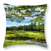 River Under The Maple Tree Throw Pillow