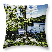 River View Through Flowers. On The Bridge Of Flowers. Throw Pillow