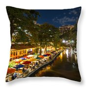 A Night On The River Walk Throw Pillow