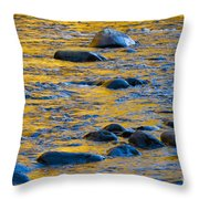River Water And Rocks Throw Pillow