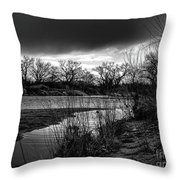 River With Dark Cloud In Black And White Throw Pillow