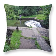River Wye Weir Throw Pillow