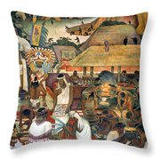 Rivera: Pre-columbian Life Throw Pillow