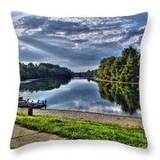 Riverbank Boats Throw Pillow
