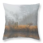 Riverbank In The Fog Throw Pillow