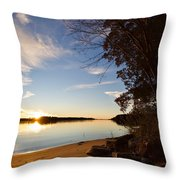 Riverbank Sunset Throw Pillow