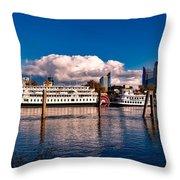 Riverboats Of Sacramento Throw Pillow