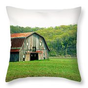 Riverbottom Barn In Spring Throw Pillow