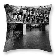 Riverfront Bridge Throw Pillow