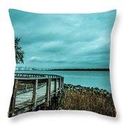 Riverfront Park Boardwalk Throw Pillow