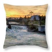 Riverfront Park Sunrise Throw Pillow