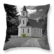 Riverside Presbyterian Church 1800s Bw Throw Pillow