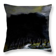 Riverside Tree Grove Throw Pillow