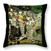 Riviera Hill Town Italy Throw Pillow