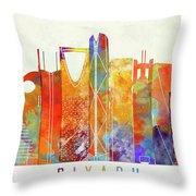 Riyadh Landmarks Watercolor Poster Throw Pillow