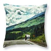 Road Alaska Bicycle  Throw Pillow