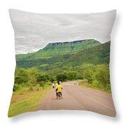 Road In Khondowe, Malawi Throw Pillow
