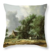 Road In The Dunes With A Passenger Coach After The Rain1631 Throw Pillow