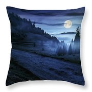 Road Near Foggy Forest In Mountains At Night Throw Pillow