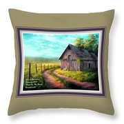 Road On The Farm Haroldsville L A With Decorative Ornate Printed Frame.  Throw Pillow