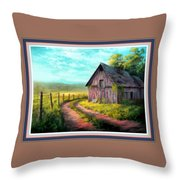 Road On The Farm Haroldsville L B With Alt. Decorative Ornate Printed Frame.   Throw Pillow