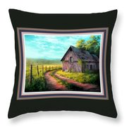 Road On The Farm Haroldsville L B With Decorative Ornate Printed Frame. Throw Pillow
