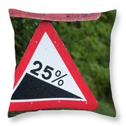 Road Sign Warning Of A 25 Percent Incline. Throw Pillow