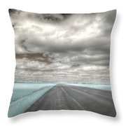 Road Sky Infrared Clouds Landscape Open Road Travel Path Road Trip Throw Pillow