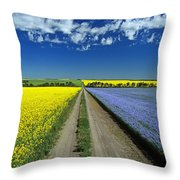 Road Through Flowering Flax And Canola Throw Pillow