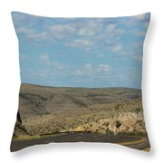 Road Through New Mexico Desert High Noon Throw Pillow