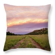 Road Through New Mexico Landscape At Sunrise Throw Pillow