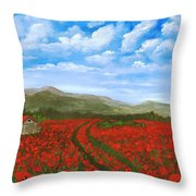 Road Through The Poppy Field Throw Pillow