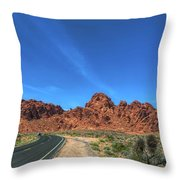 Road Through Valley Of Fire  Throw Pillow
