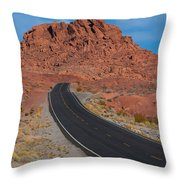 Road Through Valley Of Fire, Nv Throw Pillow