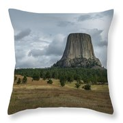 Road To Devils Tower Panorama Throw Pillow