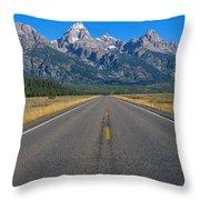 Road To Grand Teton National Park Throw Pillow