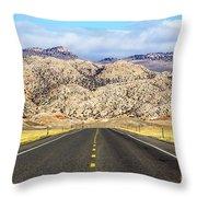 Road To Owl Creek Mountains Wyoming Throw Pillow
