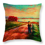 Road To Red Gables Throw Pillow