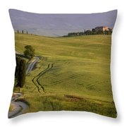 Road To Terrapille In Tuscany Throw Pillow