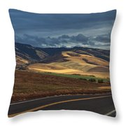 Road To The Blue's Throw Pillow