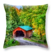 Road To The Covered Bridge Throw Pillow