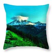 Road To The Mountain  Throw Pillow