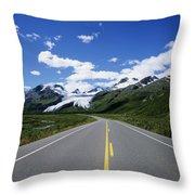 Road To Worthington Glacier Throw Pillow