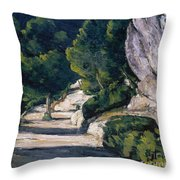 Road With Trees In Rocky Mountains Throw Pillow
